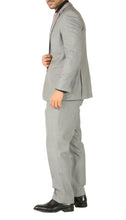 Load image into Gallery viewer, Rod Premium Light Grey Wool 2 Piece Suit Stain Resistant Traveler Suit - w 2 Pairs of Pants - Ferrecci USA