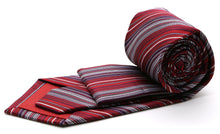 Load image into Gallery viewer, Mens Dads Classic Red Striped Pattern Business Casual Necktie & Hanky Set S-11 - Ferrecci USA