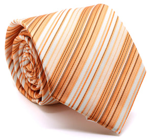Mens Dads Classic Orange Striped Pattern Business Casual Necktie & Hanky Set S-4 - Ferrecci USA