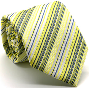 Mens Dads Classic Yellow Striped Pattern Business Casual Necktie & Hanky Set S-5 - Ferrecci USA