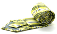 Load image into Gallery viewer, Mens Dads Classic Yellow Striped Pattern Business Casual Necktie & Hanky Set S-5 - Ferrecci USA