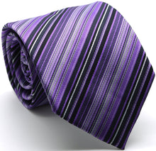 Load image into Gallery viewer, Mens Dads Classic Purple Striped Pattern Business Casual Necktie & Hanky Set S-7 - Ferrecci USA