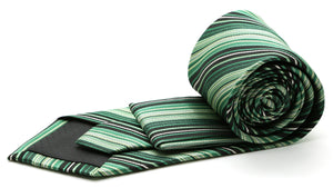 Mens Dads Classic Green Striped Pattern Business Casual Necktie & Hanky Set S-9 - Ferrecci USA