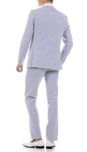 Premium Comfort Cotton Slim fit Blue Seersucker 2 Piece Suit - Ferrecci USA