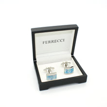 Load image into Gallery viewer, Silvertone Blue Shell Cuff Links With Jewelry Box - Ferrecci USA