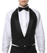 Load image into Gallery viewer, Premium Black 100% Wool Backless Tuxedo Vest  / FIT ALL (S-XL) W SATIN BOW TIE - Ferrecci USA