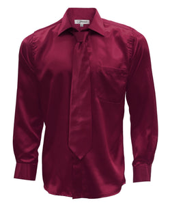 Burgundy Satin Men's Regular Fit Shirt, Tie & Hanky Set - Ferrecci USA