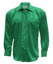 Load image into Gallery viewer, Emerald Green Satin Men's Regular Fit Shirt, Tie & Hanky Set - Ferrecci USA