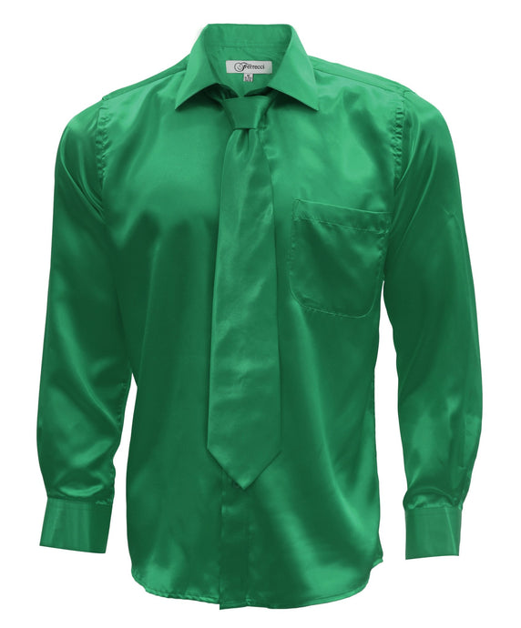 Emerald Green Satin Men's Regular Fit Shirt, Tie & Hanky Set - Ferrecci USA