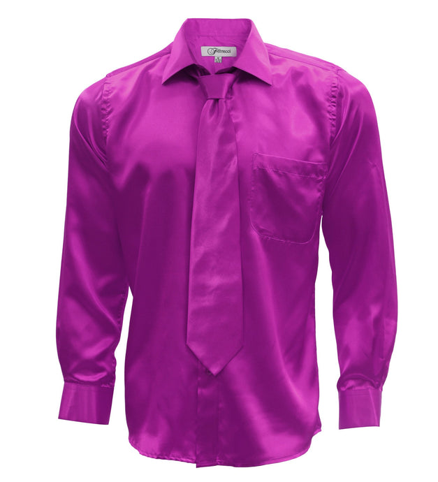 Magenta Satin Regular Fit Dress Shirt, Tie & Hanky Set - Ferrecci USA