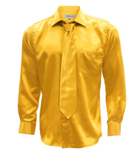 Load image into Gallery viewer, Mango Satin Regular Fit Dress Shirt, Tie & Hanky Set - Ferrecci USA
