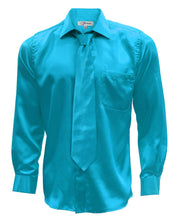 Load image into Gallery viewer, Turquoise Satin Men's Regular Fit Shirt, Tie & Hanky Set - Ferrecci USA