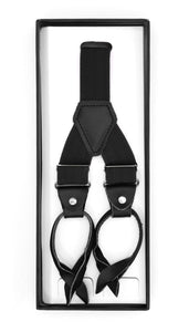 Black Button-End Unisex Suspenders - Ferrecci USA