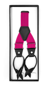 Fuchsia Button-End Unisex Suspenders - Ferrecci USA