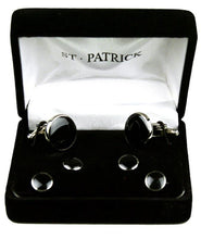 Load image into Gallery viewer, Black & Silver Tuxedo Cuff-Link & Stud Set