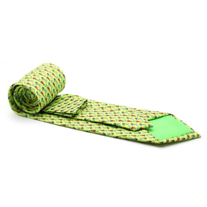 Carriage Driver Lime Green Necktie with Handkerchief Set - Ferrecci USA