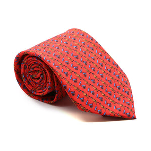 Carriage Driver Red Necktie with Handkerchief Set - Ferrecci USA