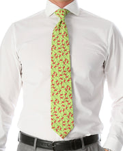 Load image into Gallery viewer, Flamingo Lime Green Necktie with Handkerchief Set - Ferrecci USA