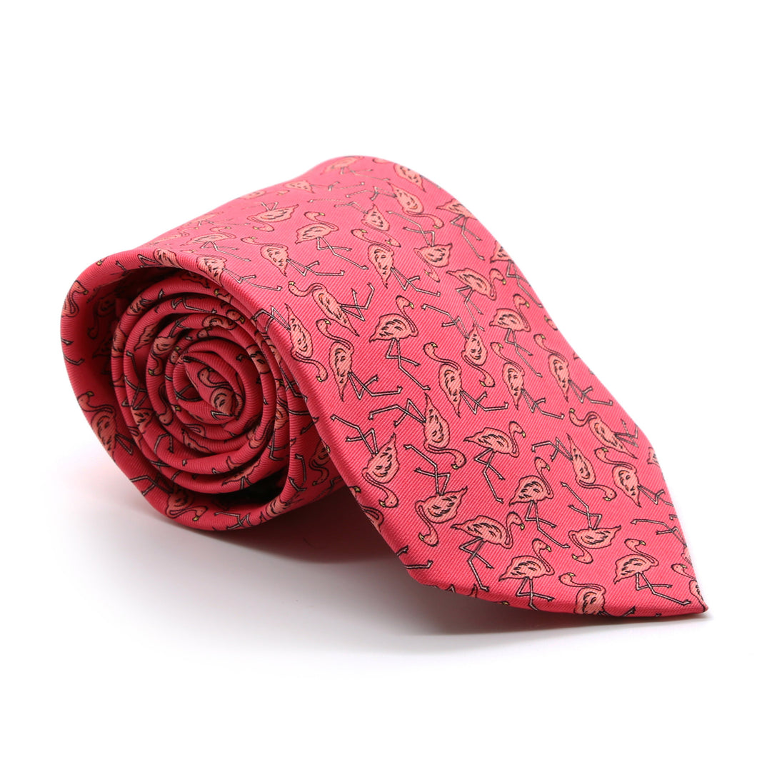 Flamingo Pink Necktie with Handkerchief Set - Ferrecci USA