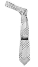 Load image into Gallery viewer, Geometric Silver Necktie w. Grey Circles w. Hanky Set - Ferrecci USA