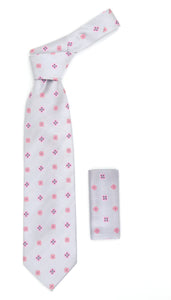 Geometric Light Grey Necktie w. Pink Clovers & Squares w. Hanky Set - Ferrecci USA