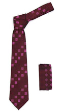 Load image into Gallery viewer, Geometric Berry Red Necktie w. Dotted Squares Hanky Set - Ferrecci USA