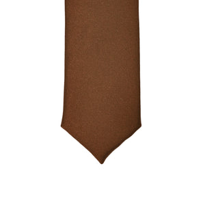 Super Skinny Brown Shiny Slim Tie - Ferrecci USA