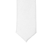 Load image into Gallery viewer, Super Skinny White Shiny Slim Tie - Ferrecci USA