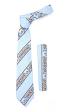 Load image into Gallery viewer, Microfiber Baby Blue Floral Striped Tie and Hankie Set - Ferrecci USA