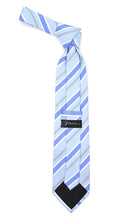 Load image into Gallery viewer, Microfiber Sky Blue Grey Striped Tie and Hankie Set - Ferrecci USA