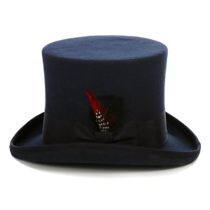 Premium Wool Navy Top Hat - Ferrecci USA