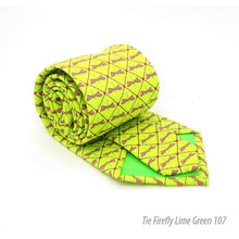 Load image into Gallery viewer, Firefly Lime Green Necktie with Handkerchief Set - Ferrecci USA