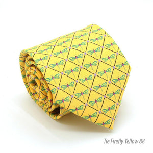 Firefly Yellow Necktie with Handkerchief Set - Ferrecci USA