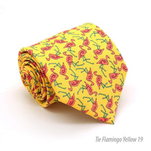 Load image into Gallery viewer, Flamingo Yellow Necktie with Handkerchief Set - Ferrecci USA