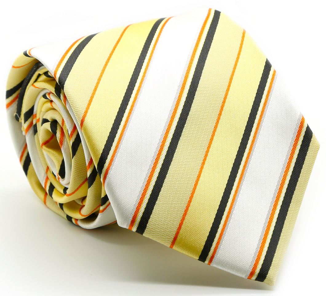 Mens Dads Classic Yellow Striped Pattern Business Casual Necktie & Hanky Set U-2 - Ferrecci USA