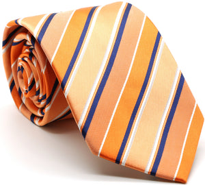 Mens Dads Classic Orange Striped Pattern Business Casual Necktie & Hanky Set U-4 - Ferrecci USA