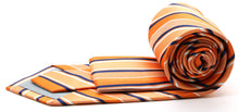Load image into Gallery viewer, Mens Dads Classic Orange Striped Pattern Business Casual Necktie & Hanky Set U-4 - Ferrecci USA