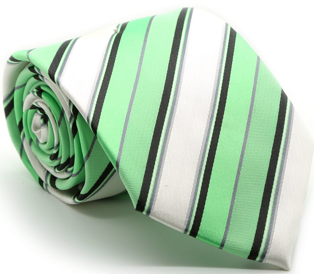 Mens Dads Classic Green Striped Pattern Business Casual Necktie & Hanky Set U-6 - Ferrecci USA