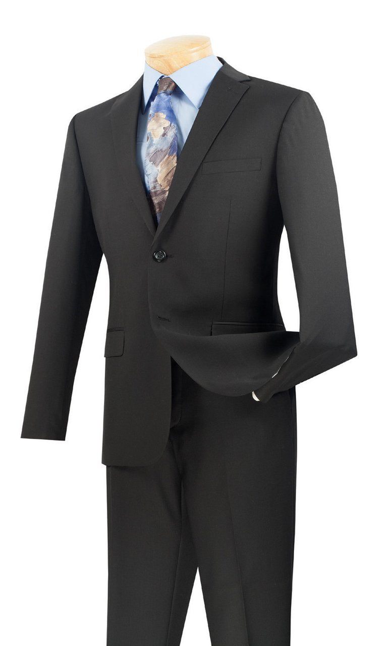 Men's Ultra Slim Fit suit 2 Piece-color Black