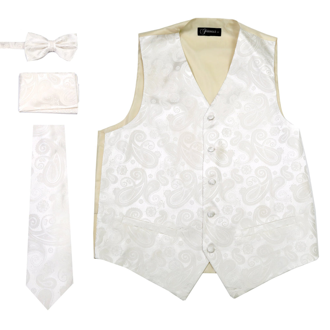 Ferrecci Mens Off-White Paisley Wedding Prom Grad Choir Band 4pc Vest Set - Ferrecci USA