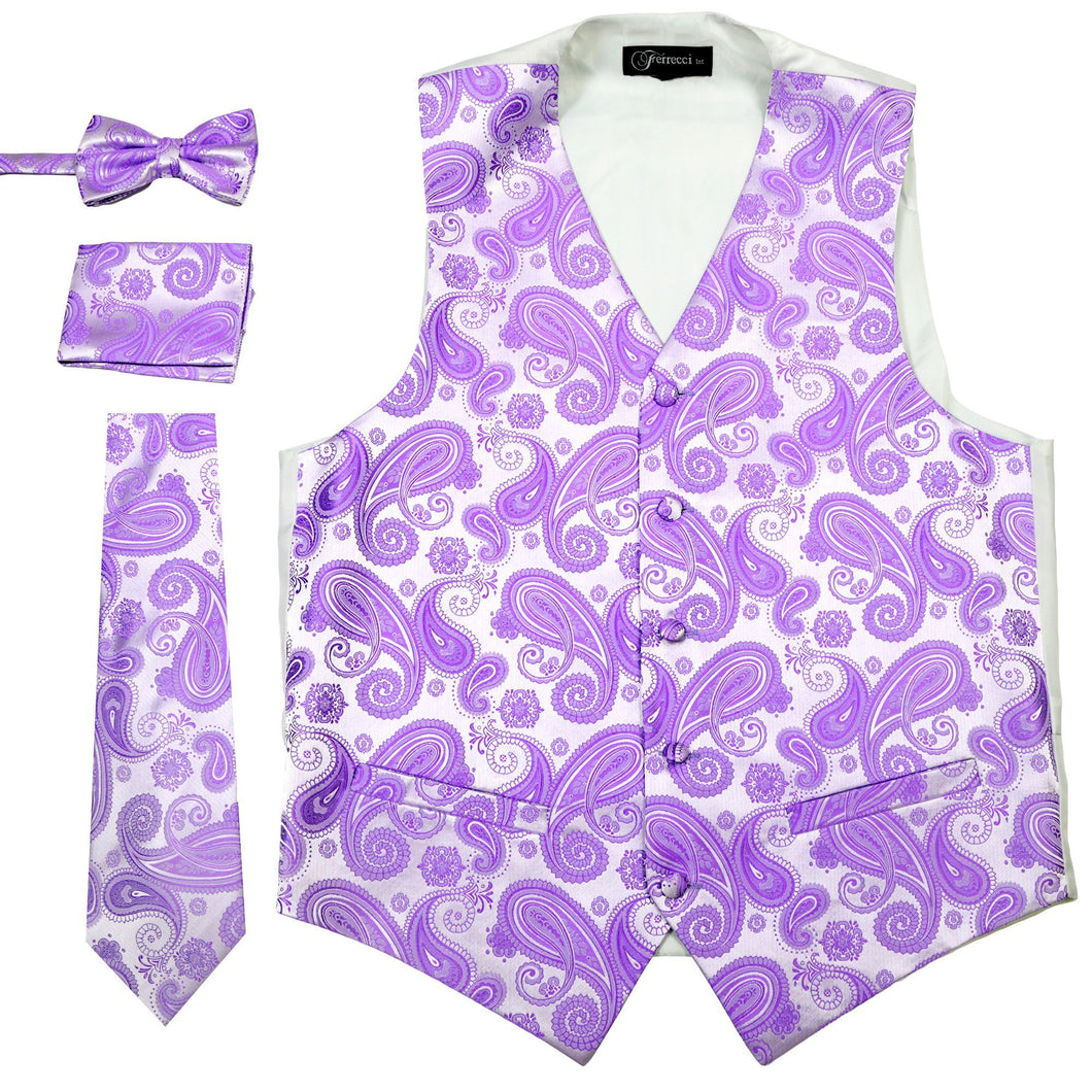 Ferrecci Mens Purple Paisley Wedding Prom Grad Choir Band 4pc Vest Set - Ferrecci USA