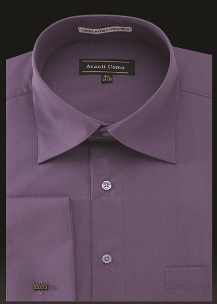 Men's French Cuff Dress Shirt Spread Collar- VIOLET