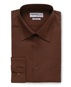 Ferrecci Men's Virgo Brown Regular Fit Shirt - Ferrecci USA