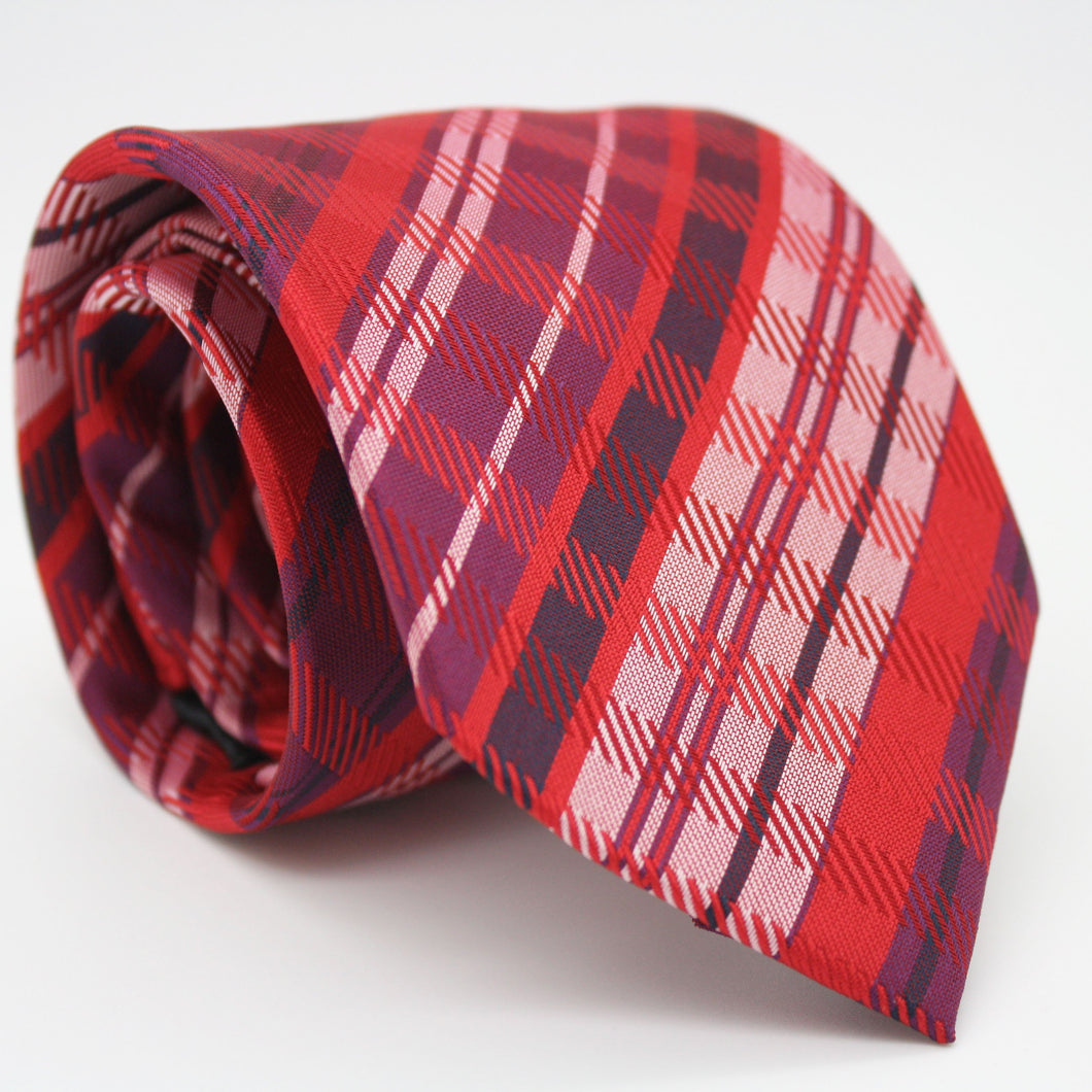 Mens Dads Classic Red Striped Pattern Business Casual Necktie & Hanky Set VO-4 - Ferrecci USA