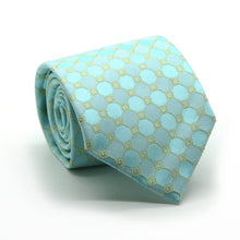 Load image into Gallery viewer, Mens Dads Classic Turquoise Geometric Pattern Business Casual Necktie & Hanky Set W-3 - Ferrecci USA