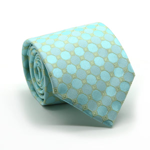 Mens Dads Classic Turquoise Geometric Pattern Business Casual Necktie & Hanky Set W-3 - Ferrecci USA