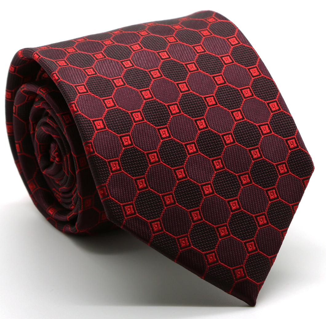 Mens Dads Classic Red Geometric Pattern Business Casual Necktie & Hanky Set W-6 - Ferrecci USA
