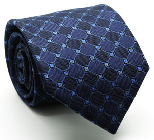 Mens Dads Classic Navy Geometric Pattern Business Casual Necktie & Hanky Set W-7 - Ferrecci USA