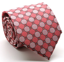 Load image into Gallery viewer, Mens Dads Classic Red Geometric Pattern Business Casual Necktie & Hanky Set W-9 - Ferrecci USA