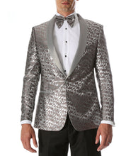 Load image into Gallery viewer, Men's Webber Silver Modern Fit Shawl Collar Tuxedo Blazer - Ferrecci USA